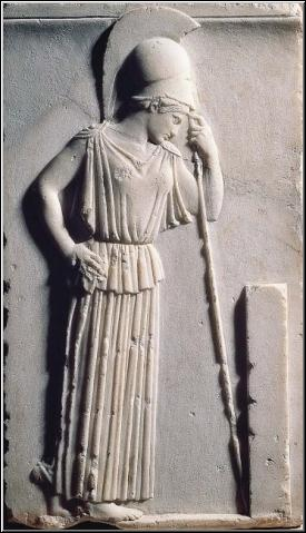 Goddess Athena Mourning a Greek Hero